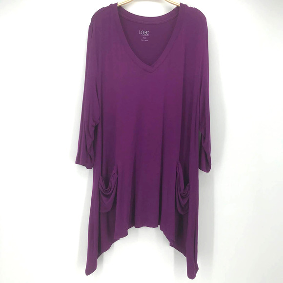 LOGO by Lori Goldstein 1X Purple Tunic Top 3/4 Slv